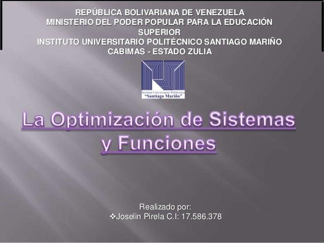 REPÚBLICA BOLIVARIANA DE VENEZUELAMINISTERIO DEL PODER POPULAR PARA LA EDUCACIÓNSUPERIORINSTITUTO UNIVERSITARIO POLITÉCNIC...