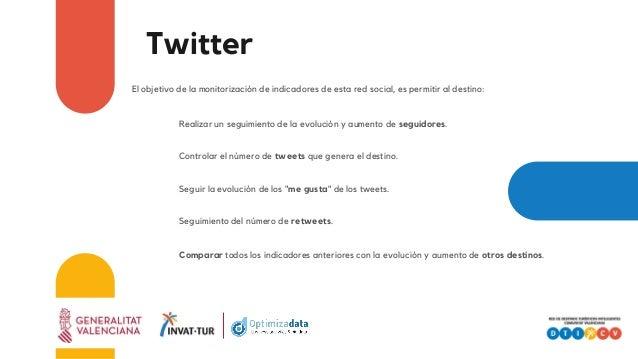 Twitter El objetivo de la monitorización de indicadores de esta red social, es permitir al destino: Realizar un seguimient...