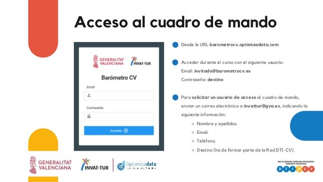 Acceso al cuadro de mando Desde la URL barometrocv.optimizadata.com Acceder durante el curso con el siguiente usuario: Ema...
