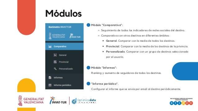"""Módulos Módulo """"Comparativa"""": ⚬ Seguimiento de todos los indicadores de redes sociales del destino. ⚬ Comparativa con otro..."""