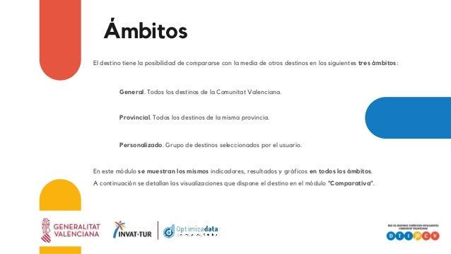 Ámbitos El destino tiene la posibilidad de compararse con la media de otros destinos en los siguientes tres ámbitos: Gener...