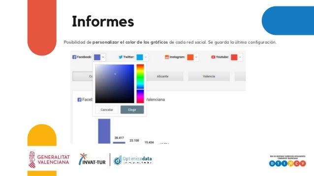 Informes Posibilidad de personalizar el color de los gráficos de cada red social. Se guarda la última configuración.