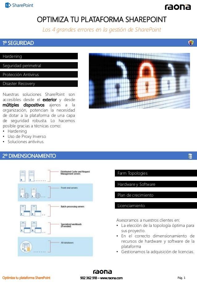 OPTIMIZA TU PLATAFORMA SHAREPOINT  Los 4 grandes errores en la gestión de SharePoint  Farm Topologies  Hardware y Software...