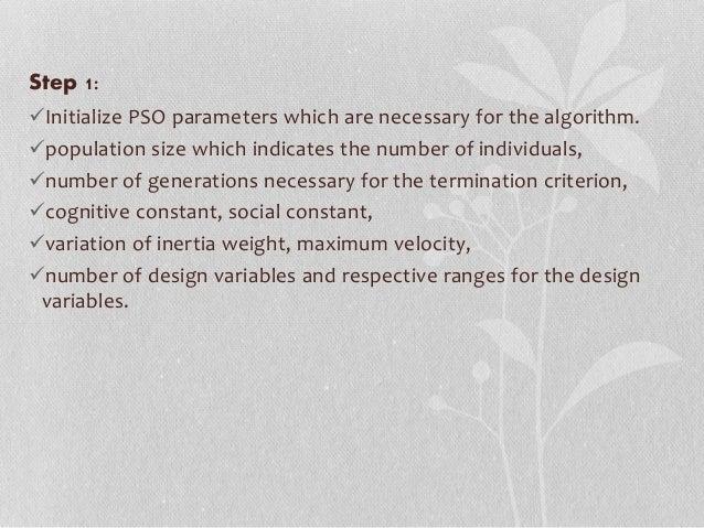 Optimization and particle swarm optimization (O & PSO)