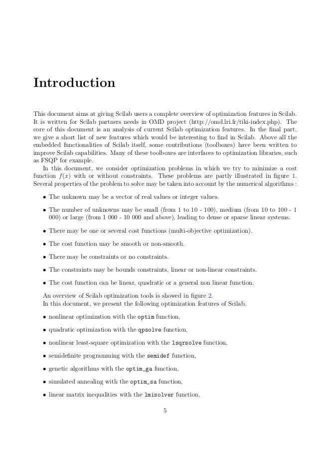 Scilab optimization