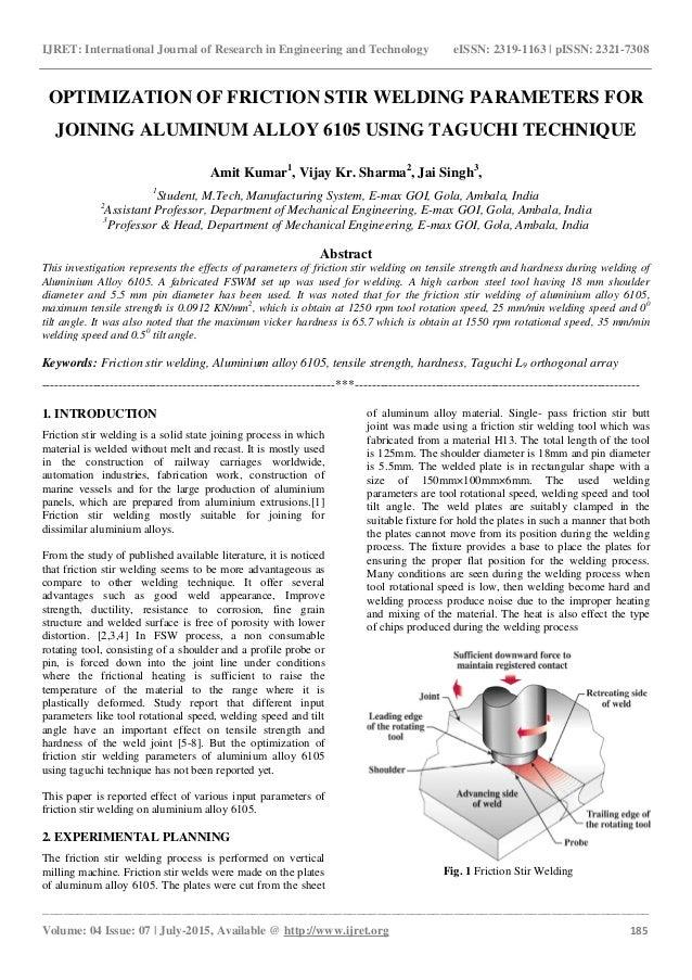 friction stir welding research paper Research of friction stir welded 7049 aluminum alloy in this paper the experimental research were friction stir welding with basic tools and materials with.