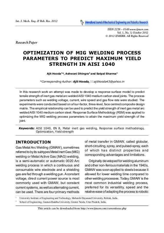 mig welding process parameters pdf
