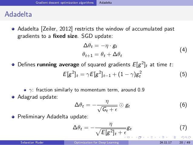 Gradient descent optimization algorithms Adadelta Adadelta Adadelta [Zeiler, 2012] restricts the window of accumulated pas...