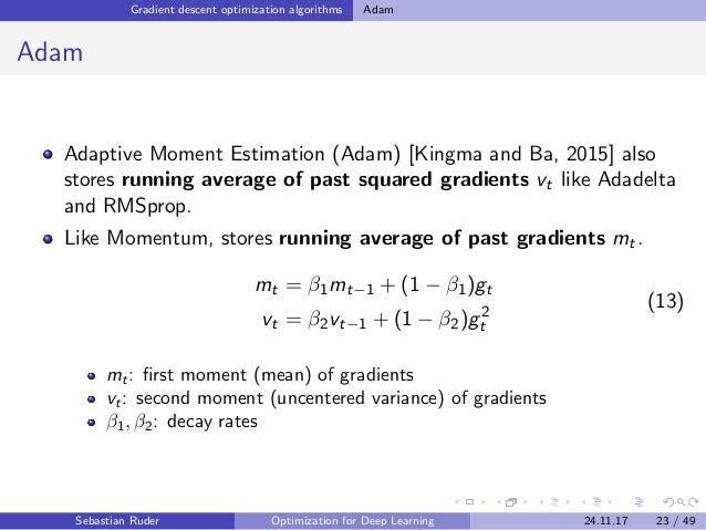 Gradient descent optimization algorithms Adam Adam Adaptive Moment Estimation (Adam) [Kingma and Ba, 2015] also stores run...