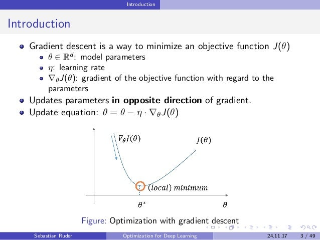 Introduction Introduction Gradient descent is a way to minimize an objective function J(θ) θ ∈ Rd : model parameters η: le...