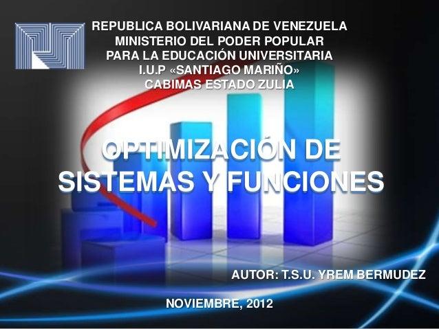 REPUBLICA BOLIVARIANA DE VENEZUELA     MINISTERIO DEL PODER POPULAR    PARA LA EDUCACIÓN UNIVERSITARIA        I.U.P «SANTI...