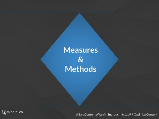 @SaraContentWise @mindtouch #stc19 #OptimizeContent Measures & Methods