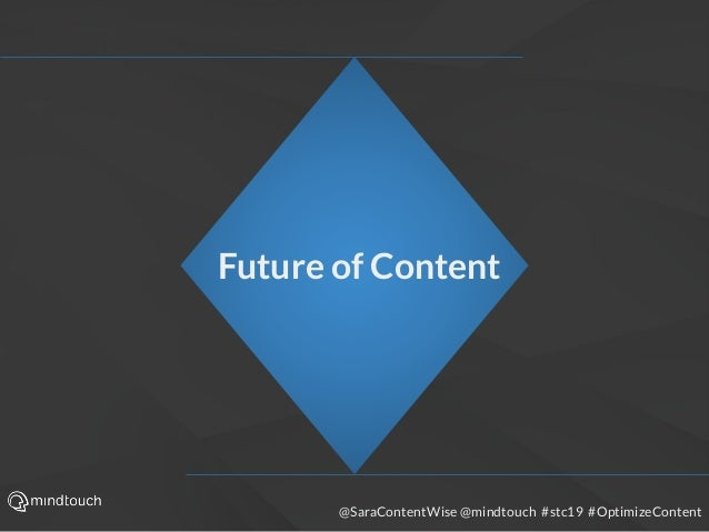 @SaraContentWise @mindtouch #stc19 #OptimizeContent Future of Content