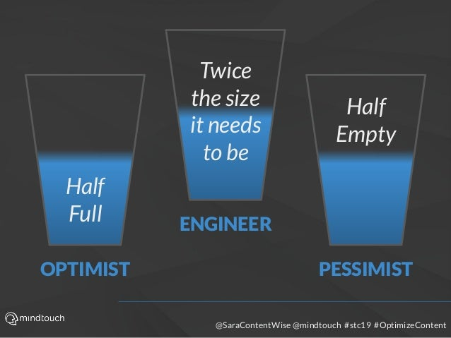 @SaraContentWise @mindtouch #stc19 #OptimizeContent Half Full Half Empty Twice the size it needs to be OPTIMIST ENGINEER P...