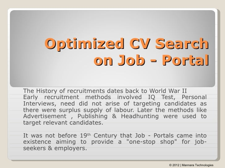 Optimized CV Search On Job   PortalThe History Of Recruitments Dates Back  To World War IIEarly What ...
