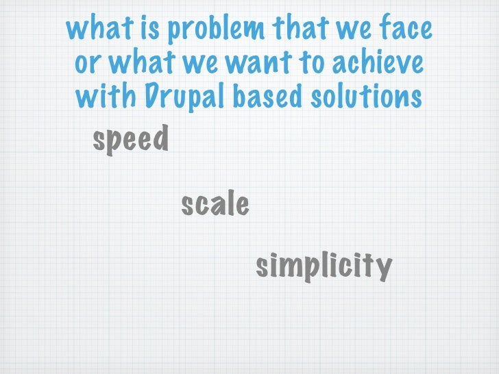 what is problem that we faceor what we want to achievewith Drupal based solutions speed        scale                simpli...