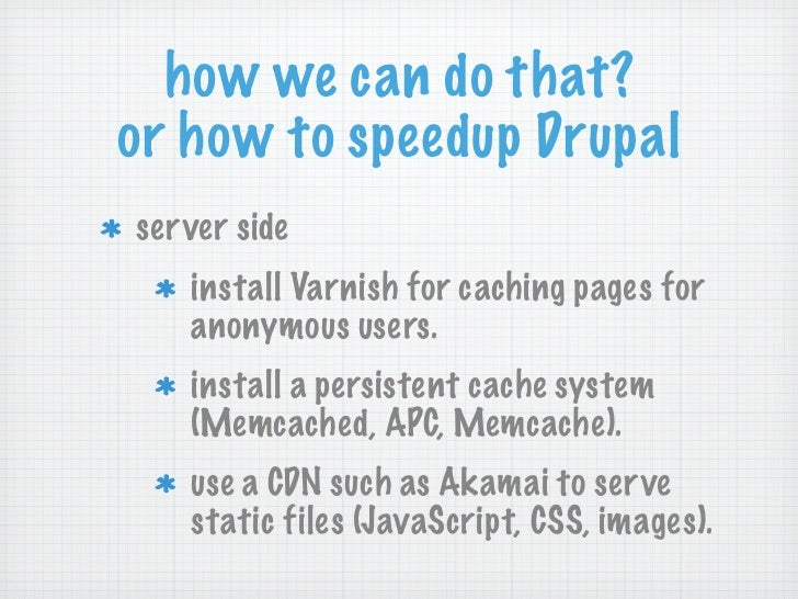 how we can do that?or how to speedup Drupalserver side   install Varnish for caching pages for   anonymous users.   instal...