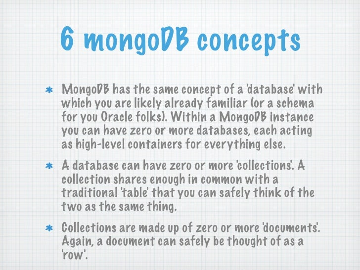 6 mongoDB conceptsMongoDB has the same concept of a d atabase withwhich you are likely already familiar (or a schemafor yo...