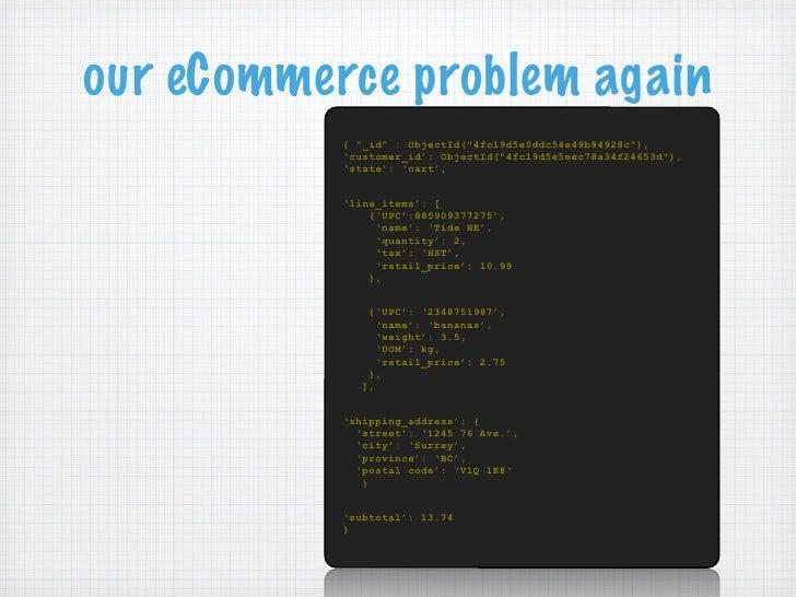 """our eCommerce problem again           { """"_id"""" : ObjectId(""""4fc19d5e0ddc54e49b84928c""""),           'customer_id': ObjectId(""""4..."""