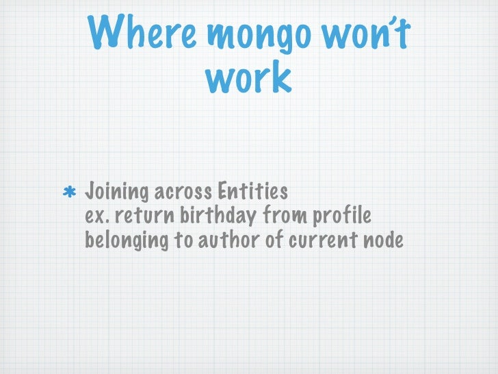 Where mongo won't      workJoining across Entitiesex. return birthday from profilebelonging to author of current node