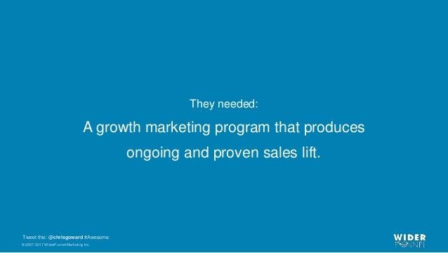 © 2007-2017 WiderFunnel Marketing Inc. Tweet this: @chrisgoward #Awesome They needed: A growth marketing program that prod...