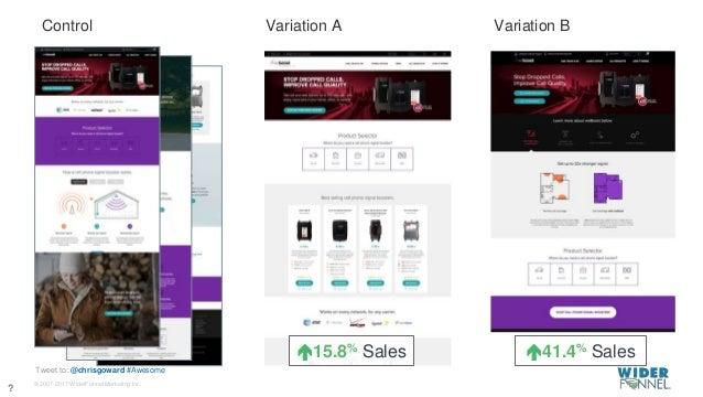 © 2007-2017 WiderFunnel Marketing Inc. Tweet to: @chrisgoward #Awesome Variation A Variation BControl 15.8% Sales 41.4% ...