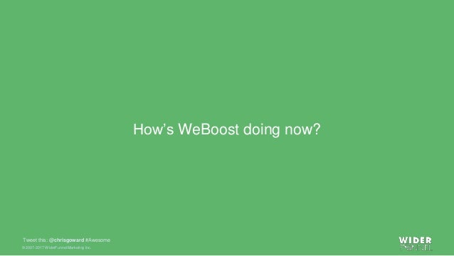 © 2007-2017 WiderFunnel Marketing Inc. Tweet this: @chrisgoward #Awesome How's WeBoost doing now?
