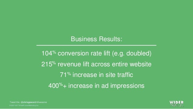 © 2007-2017 WiderFunnel Marketing Inc. Tweet this: @chrisgoward #Awesome 104% conversion rate lift (e.g. doubled) 215% rev...