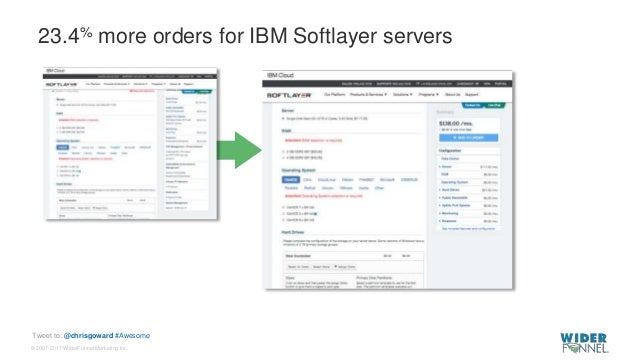 © 2007-2017 WiderFunnel Marketing Inc. Tweet to: @chrisgoward #Awesome 23.4% more orders for IBM Softlayer servers