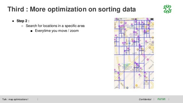 Third : More optimization on sorting data Confidential ● Step 2 : ○ Search for locations in a specific area ■ Everytime yo...
