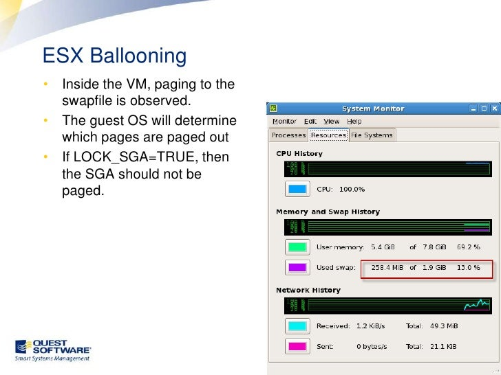 ESX Ballooning<br />Inside the VM, paging to the swapfile is observed.<br />The guest OS will determine which pages are pa...