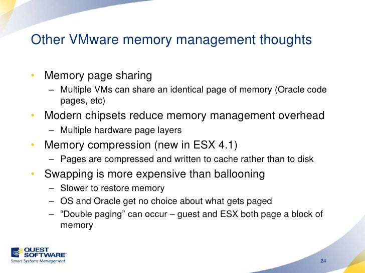 Other VMware memory management thoughts<br />Memory page sharing <br />Multiple VMs can share an identical page of memory ...