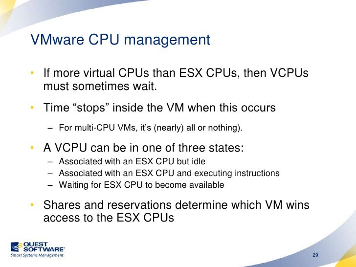 Configuring VM CPU <br />VMs compete for CPU in this range<br />Shares determine relative CPU allocated when competing <br />
