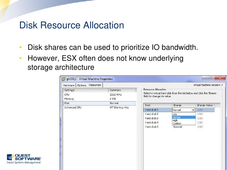 """Optimal configuration <br />See """"Oracle Database Scalability in VMware® ESX"""" at www.vmware.com/oracle<br />Each virtual di..."""