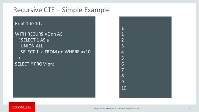 Copyright © 2016, Oracle and/or its affiliates. All rights reserved. Recursive CTE – Simple Example 14 Print 1 to 10 : WIT...