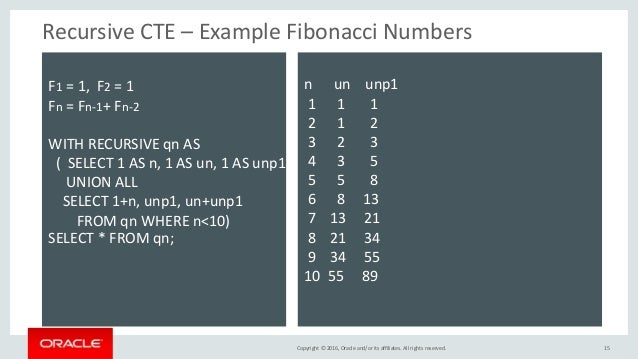 Copyright © 2016, Oracle and/or its affiliates. All rights reserved. Recursive CTE – Example Fibonacci Numbers 15 F1 = 1, ...