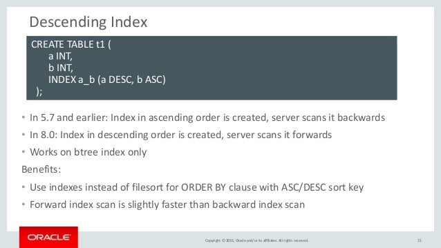 Copyright © 2016, Oracle and/or its affiliates. All rights reserved. Descending Index • In 5.7 and earlier: Index in ascen...