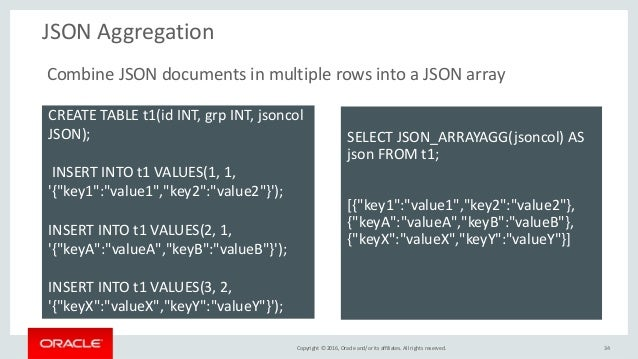 Copyright © 2016, Oracle and/or its affiliates. All rights reserved. JSON Aggregation 34 CREATE TABLE t1(id INT, grp INT, ...