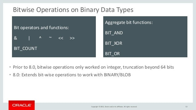 Copyright © 2016, Oracle and/or its affiliates. All rights reserved. Bitwise Operations on Binary Data Types • Prior to 8....