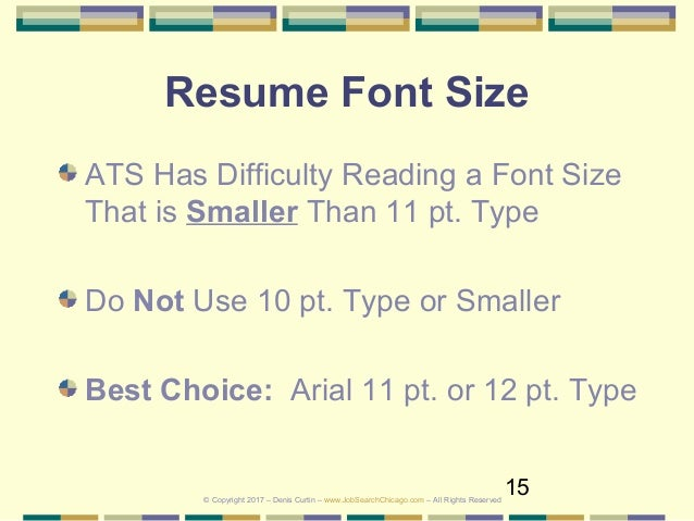 resume fonts size