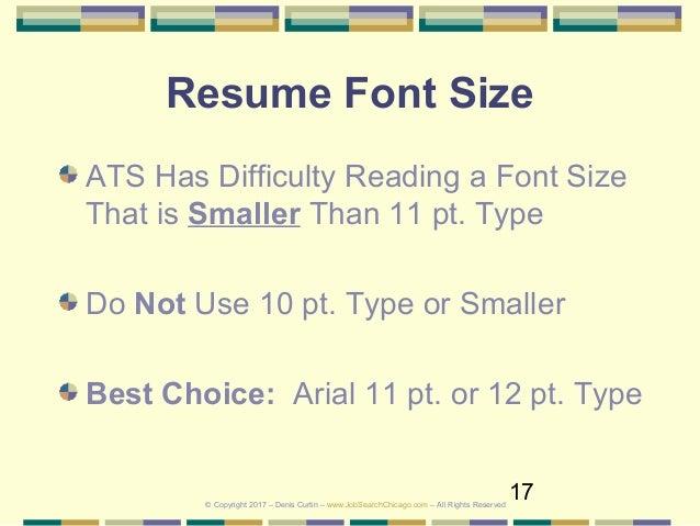 Font ...  Font Size On Resume