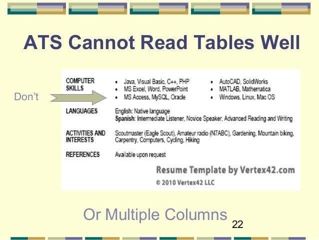 22 ats cannot read tables well dont or multiple columns