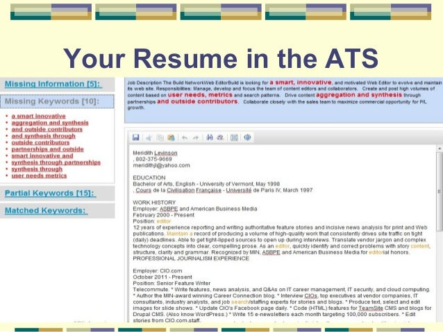 31 Your Resume In The ATS ...