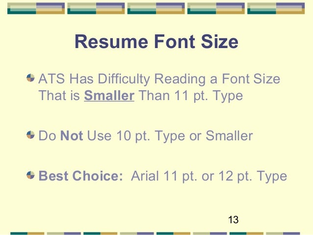 resume font and size