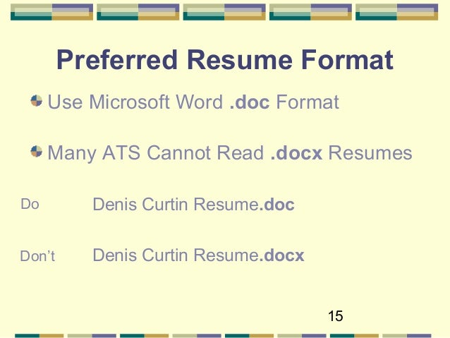 pdfdont 15 15 preferred resume format - How To Format Your Resume