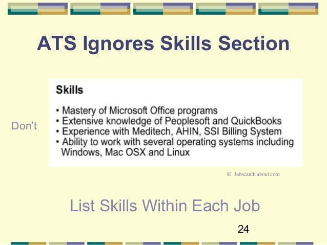 24 24 ats ignores skills section list