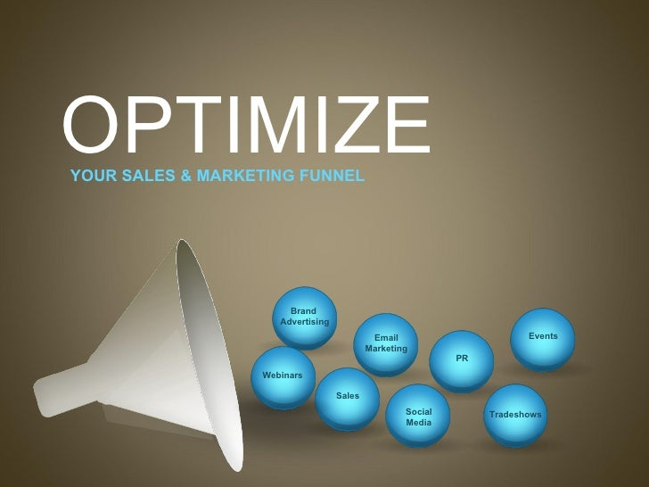 OPTIMIZE   YOUR SALES & MARKETING FUNNEL PR Tradeshows Brand  Advertising Email Marketing Sales Social Media Events Webinars