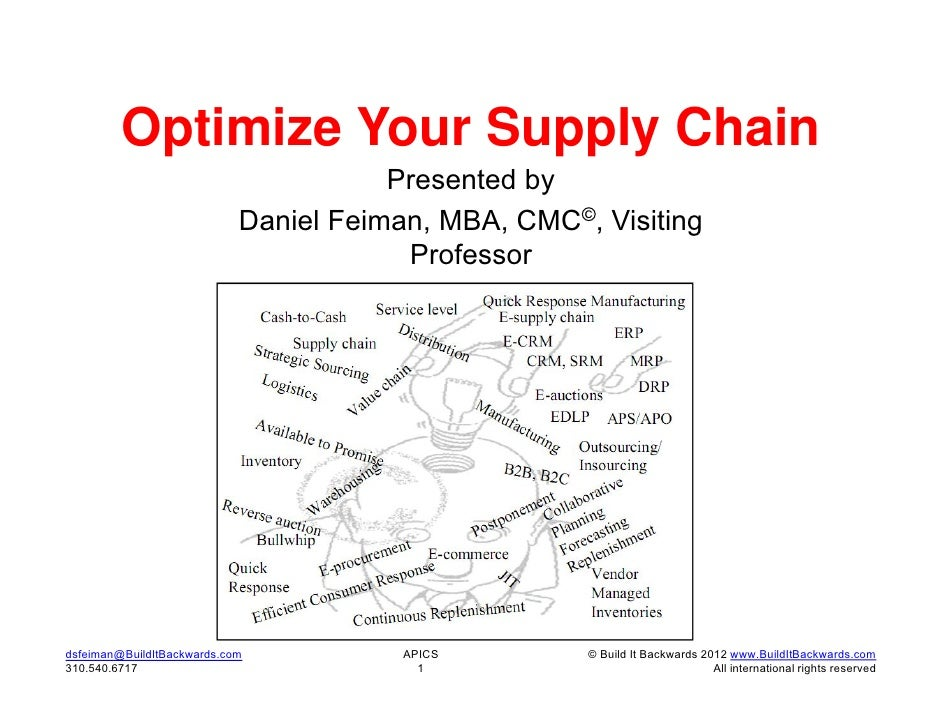 Optimize Your Supply Chain                                       Presented by                            Daniel Feiman, MB...