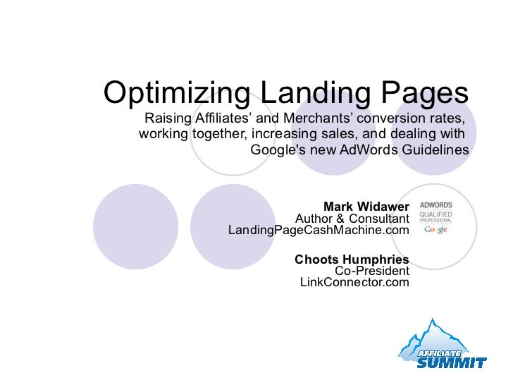 Optimizing Landing Pages Raising Affiliates' and Merchants' conversion rates,  working together, increasing sales, and dea...