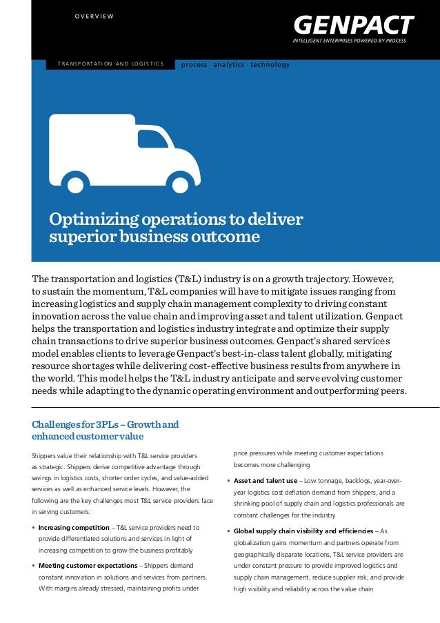 T r a n s p o r tat i o n a n d l o g i s t i c s  Optimizing operations to deliver superior business outcome The transpor...
